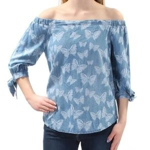 INC Indigo butterfly blouse